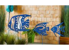 Evergreen Blue Patina Metal Fish